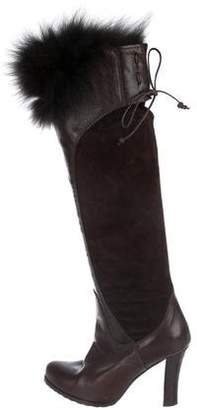 Henry Beguelin Suede Fur-Trim Boots