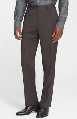 Canali Flat Front Classic Fit Wool Trousers