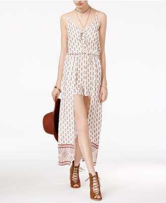 American Rag Juniors' Printed Lace-Up Maxi-Overlay Romper, Created for Macy's $69.50 thestylecure.com