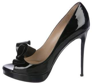 Valentino Patent Leather Bow-Accented Pumps