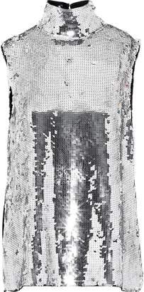 Tibi Metallic Sequined Silk Turtleneck Top