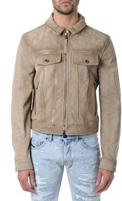 Diesel Black Gold Camel Distressed Leather Jacket