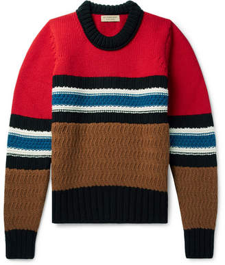 Burberry Striped Wool and Cashmere-Blend Sweater - Men - Red