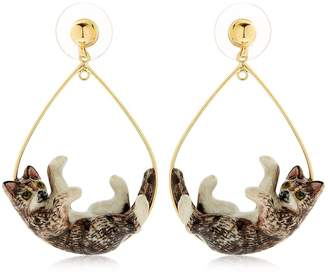 Nach Grey Playing Cat Earrings