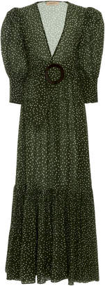 Adriana Degreas Polka Dot Flared Silk Maxi Dress