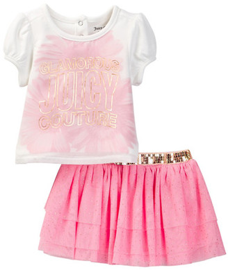 Juicy Couture Gerber Daisy Print Top & Glitter Mesh Skirt Set (Baby Girls 12-24M) $60 thestylecure.com