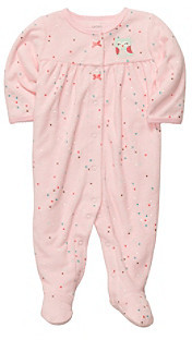 Carter's Baby Girls' Pink Confetti Print Terry Owl Footie