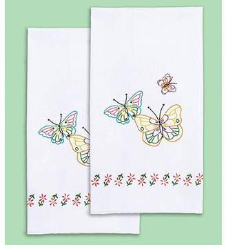 """Jack Dempsey Stamped White Decorative Hand Towel, 17"""" x 28"""", One Pair, Fluttering Butterflies"""