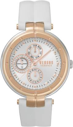 Versace Bellville Leather Strap Watch, 38mm