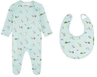 Cath Kidston Girls Mini Woodland Sleepsuit And Bib Set - Green