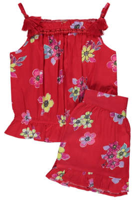 George Red Floral Boho Top and Shorts Outfit
