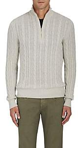 Loro Piana Men's Cable-Knit Cashmere Quarter-Zip Pullover-Light Gray