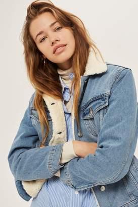 Topshop Womens Petite Oversized Borg Jacket - Mid Stone