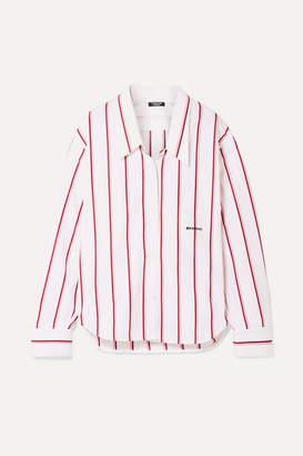 Calvin Klein Oversized Embroidered Striped Cotton-poplin Shirt - White