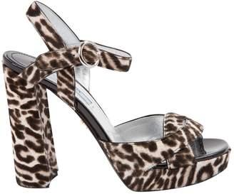 Prada Pony-style calfskin sandals