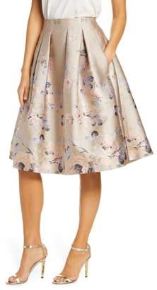 Eliza J Floral Metallic Jacquard Pleated Skirt