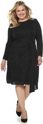 Plus Size Suite 7 Glitter Long Sleeve Dress