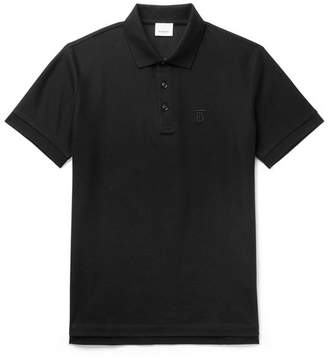Burberry Slim-Fit Logo-Embroidered Cotton-Pique Polo Shirt - Men - Black