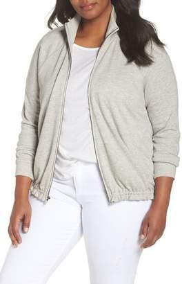 Caslon Off-Duty Knit Track Jacket (Plus Size)