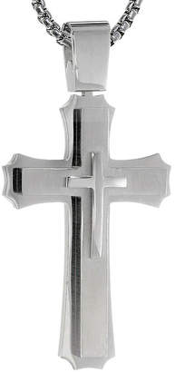 FINE JEWELRY Mens Stainless Steel Triple Layer Cross Pendant Necklace