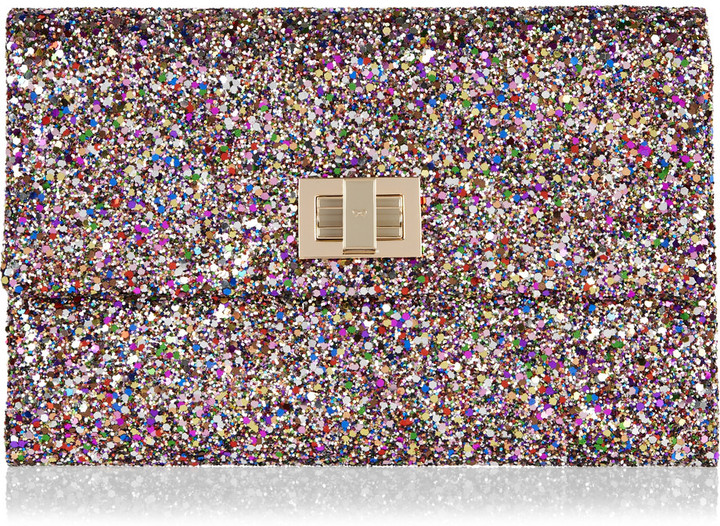 Anya Hindmarch Valorie glitter-finish clutch
