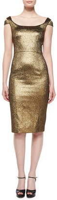 Michael Kors Metallic Off-The-Shoulder Sheath Dress, Gold $1,750 thestylecure.com