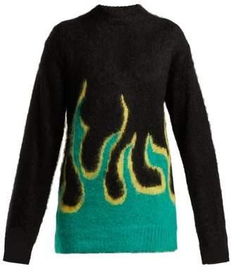 Prada Flame Intarsia Knit Mohair Blend Sweater - Womens - Black Green
