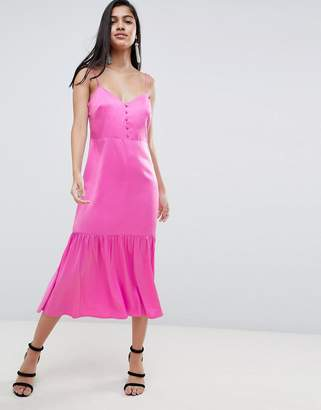Asos Design DESIGN pep hem midi satin slip dress