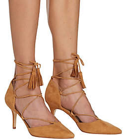 Marc Fisher Suede Pointed Toe Lace-Up Pumps -Tamya