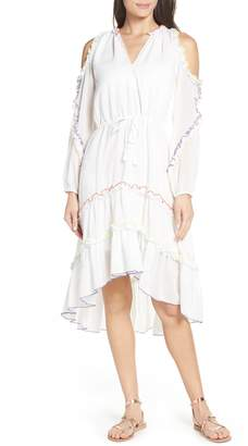 Red Carter Ruffle High/Low Cold Shoulder Cover-Up Dress