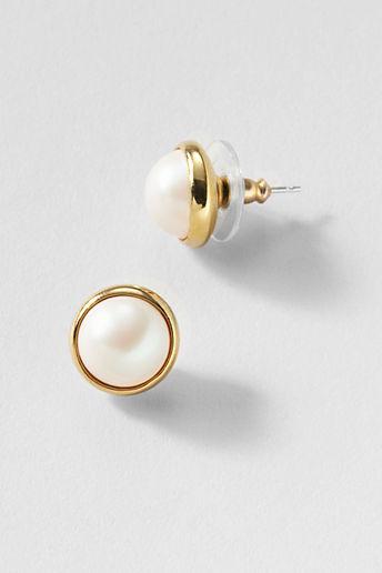 Lands' End Women's Pearl Button Earrings