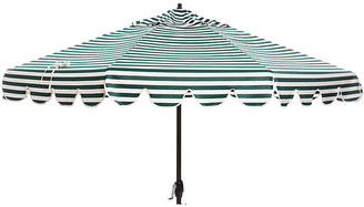 One Kings Lane Phoebe Scallop-Edge Patio Umbrella - Forest/White