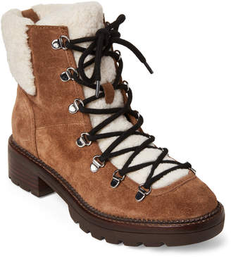 Marc Fisher Brown Capell Sherpa Suede Lace-Up Boots