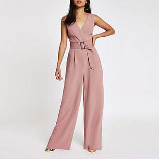 River Island Petite pink belted wide leg jumpsuit