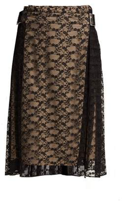 Christopher Kane Floral Lace Midi Skirt - Womens - Black