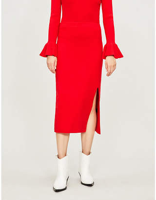 KITRI Olympia wool-blend midi skirt