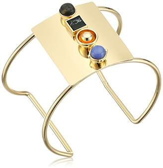 Danielle Nicole Bayer Gold/Laboradorite / Black/Purple Cuff Bracelet