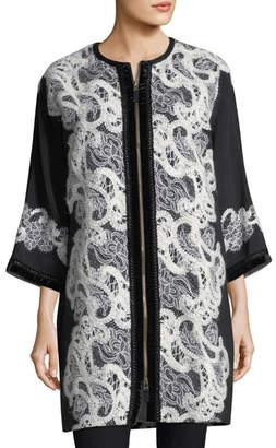 Andrew Gn Zip-Front Crepe Lace Coat