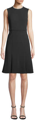 Donna Morgan Pearly-Neck Fit-&-Flare Dress
