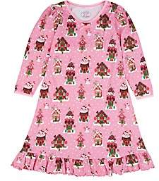 Sara's Prints KIDS' GINGERBREAD HOUSE COTTON-BLEND NIGHTGOWN-PINK SIZE 3 YRS