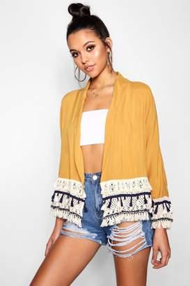 boohoo Tassel Crochet Kimono Jacket