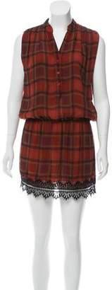 Haute Hippie Silk Sleeveless Plaid Printed Mini Dress