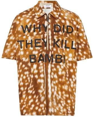 Short-sleeve Slogan Deer Print Cotton Shirt