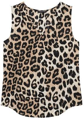 Banana Republic Petite Leopard Pleated Drapey Tank