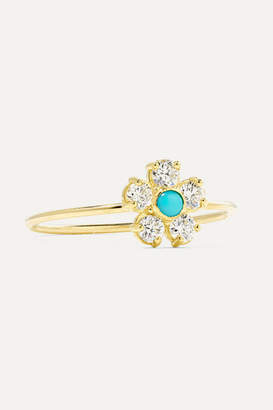 Jennifer Meyer Flower 18-karat Gold, Diamond And Turquoise Ring