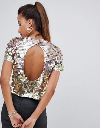 Asos DESIGN ombre disco sequin t-shirt