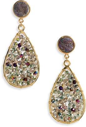 Panacea Drusy Crystal Teardrop Earrings