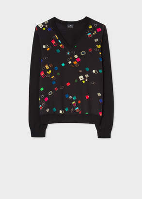 Paul Smith Women's Black V-Neck 'Ring Boxes' Print Wool Sweater