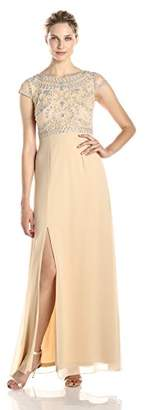 Adrianna Papell Women's Sleeveless Gown with Beaded Bodice and Scoop Neck,8