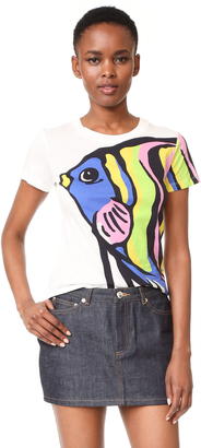 Boutique Moschino Short Sleeve Printed Top $295 thestylecure.com